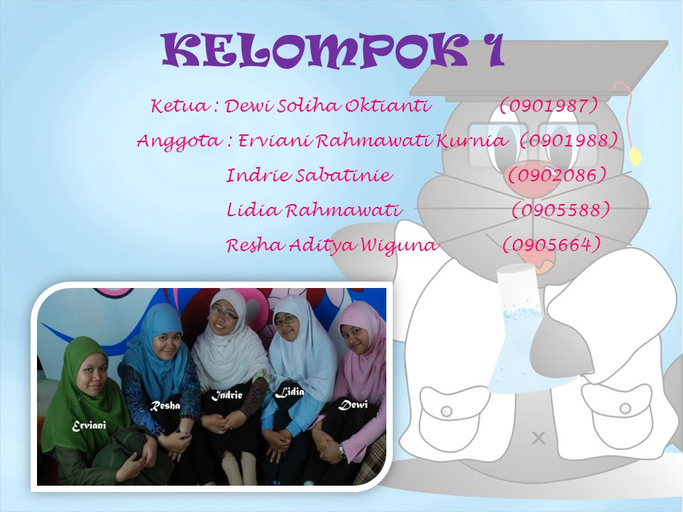 KELOMPOK 1 Ketua : Dewi Soliha Oktianti (0901987) Anggota : Erviani Rahmawati Kurnia (0901988) Indrie Sabatinie (0902086) Lidia Rahmawati (0905588) Re