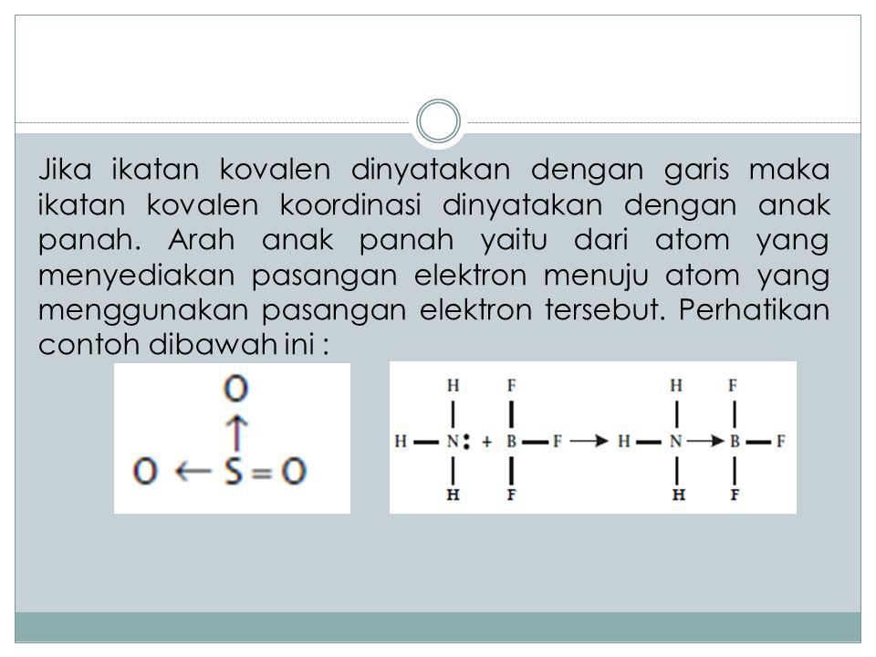 Jika ikatan kovalen dinyatakan dengan garis maka ikatan kovalen koordinasi dinyatakan dengan anak panah. Arah anak panah yaitu dari atom yang menyedia