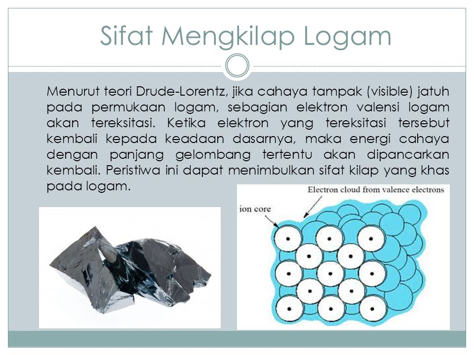 Sifat Mengkilap Logam Menurut teori Drude-Lorentz, jika cahaya tampak (visible) jatuh pada permukaan logam, sebagian elektron valensi logam akan terek
