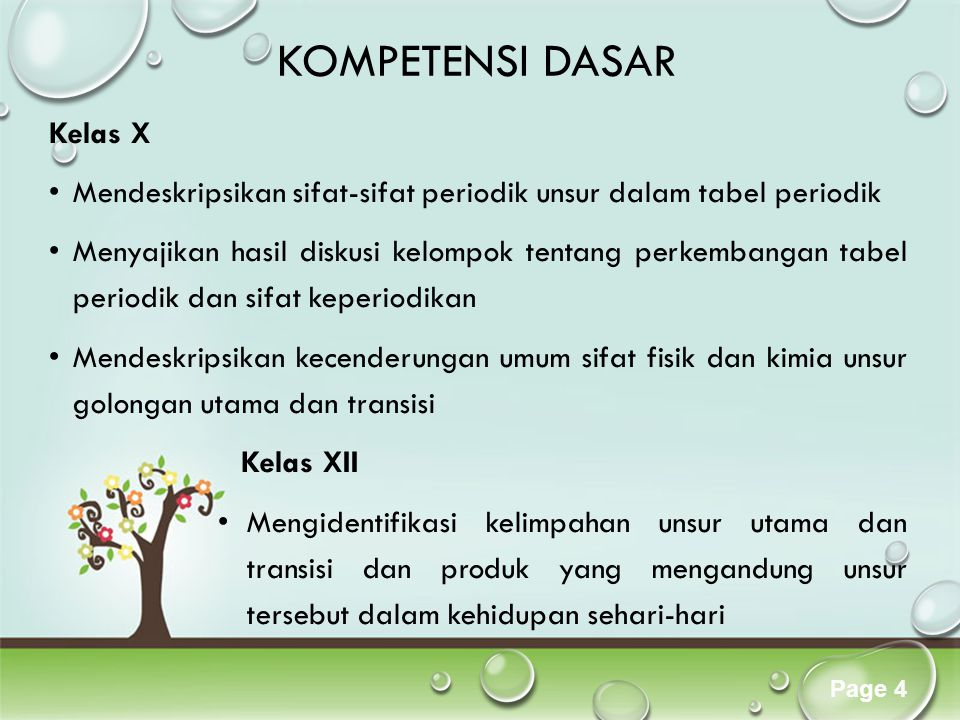 Click here to download this powerpoint template : Colorful Pastel Tree Powerpoint TemplateColorful Pastel Tree Powerpoint Template For more templates : PPT Backgrounds ModelsPPT Backgrounds Models Others ressources : Abstract Free PPT Presentations Nature Powerpoint Templates Tree Powerpoint Presentations Backgrounds Download Powerpoint Background with halo effect Page 4 KOMPETENSI DASAR Kelas X Mendeskripsikan sifat-sifat periodik unsur dalam tabel periodik Menyajikan hasil diskusi kelompok tentang perkembangan tabel periodik dan sifat keperiodikan Mendeskripsikan kecenderungan umum sifat fisik dan kimia unsur golongan utama dan transisi Kelas XII Mengidentifikasi kelimpahan unsur utama dan transisi dan produk yang mengandung unsur tersebut dalam kehidupan sehari-hari