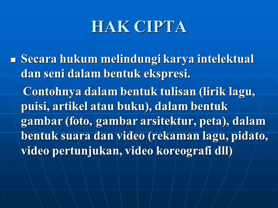 HAK CIPTA Secara hukum melindungi karya intelektual dan seni dalam bentuk ekspresi. Secara hukum melindungi karya intelektual dan seni dalam bentuk ek