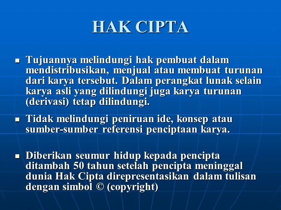 HAK CIPTA Tujuannya melindungi hak pembuat dalam mendistribusikan, menjual atau membuat turunan dari karya tersebut. Dalam perangkat lunak selain kary