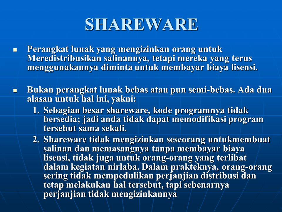 SHAREWARE Perangkat lunak yang mengizinkan orang untuk Meredistribusikan salinannya, tetapi mereka yang terus menggunakannya diminta untuk membayar bi