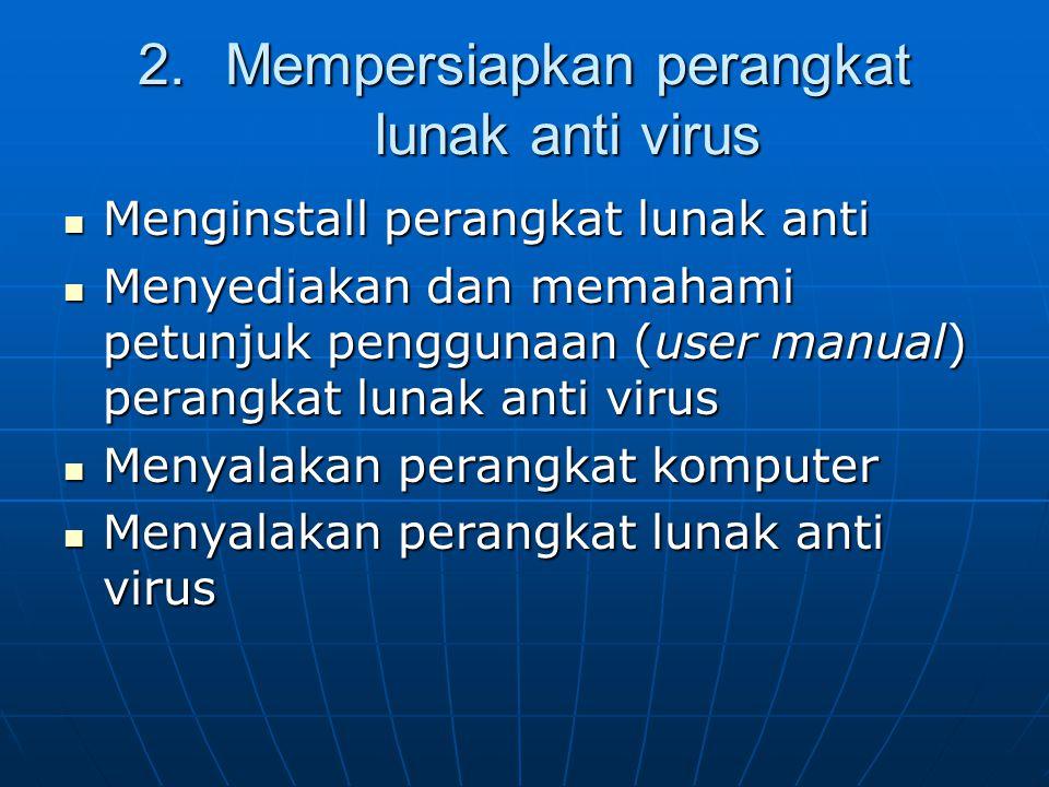 2.Mempersiapkan perangkat lunak anti virus Menginstall perangkat lunak anti Menginstall perangkat lunak anti Menyediakan dan memahami petunjuk penggun