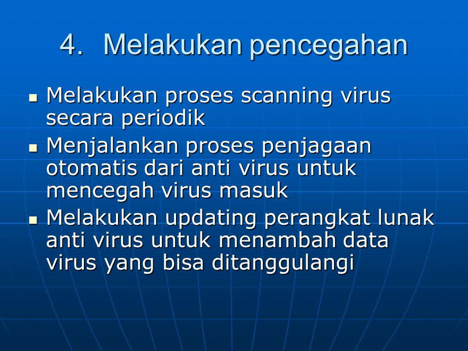 4.Melakukan pencegahan Melakukan proses scanning virus secara periodik Melakukan proses scanning virus secara periodik Menjalankan proses penjagaan ot
