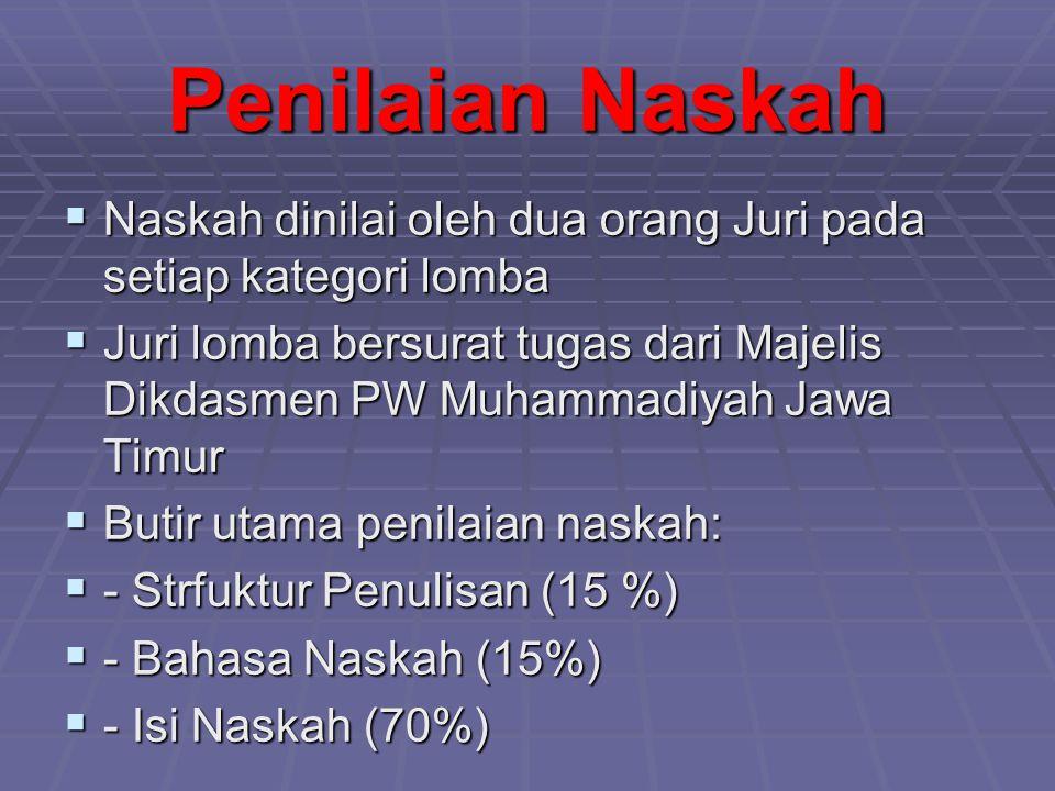 Penilaian Naskah  Naskah dinilai oleh dua orang Juri pada setiap kategori lomba  Juri lomba bersurat tugas dari Majelis Dikdasmen PW Muhammadiyah Ja