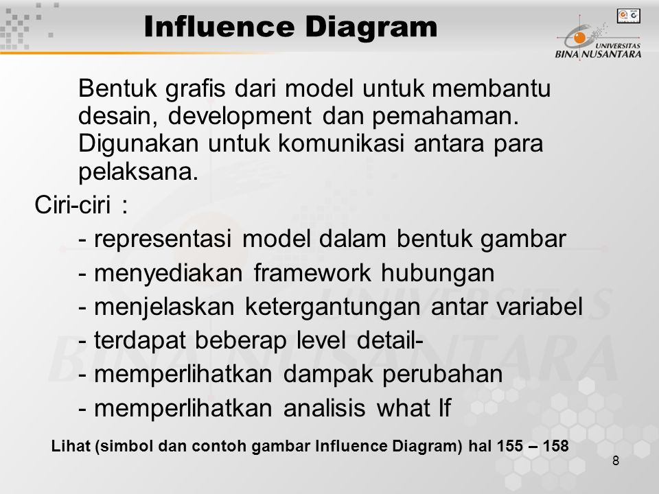 9 Influence Diagrams Decision Intermediate or uncontrollable Variables: Result or outcome (intermediate or final) Certainty Uncertainty Arrows indicate type of relationship and direction of influence Amount in CDs Interest earned Price Sales