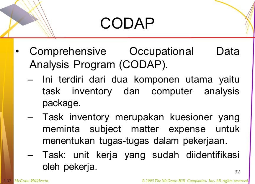 McGraw-Hill/Irwin© 2005 The McGraw-Hill Companies, Inc. All rights reserved. 1-32 32 CODAP Comprehensive Occupational Data Analysis Program (CODAP). –