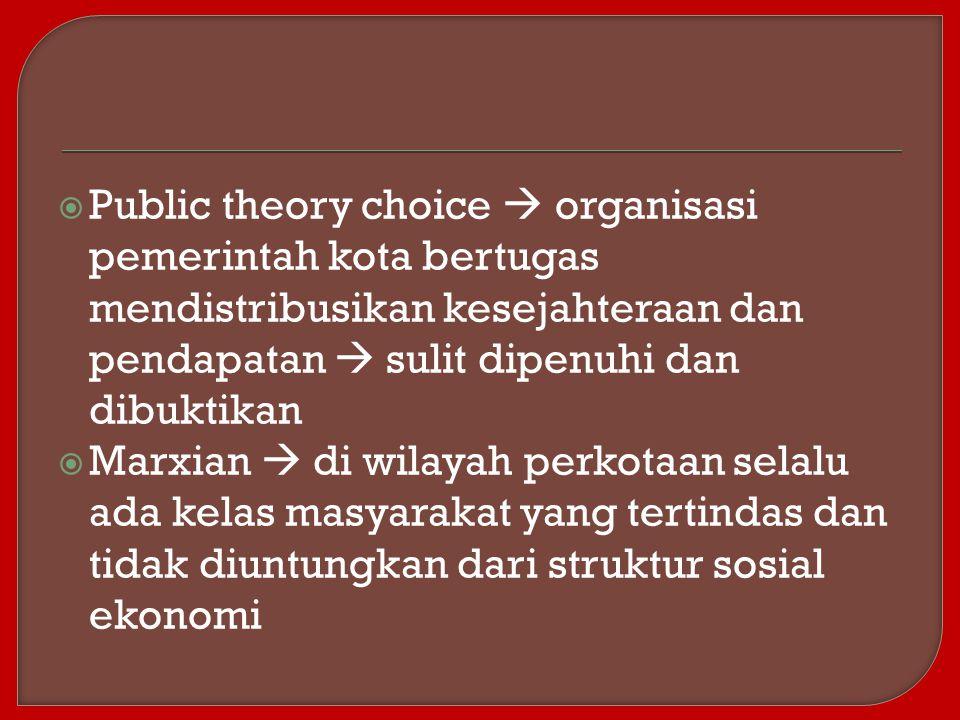  Public theory choice  organisasi pemerintah kota bertugas mendistribusikan kesejahteraan dan pendapatan  sulit dipenuhi dan dibuktikan  Marxian 