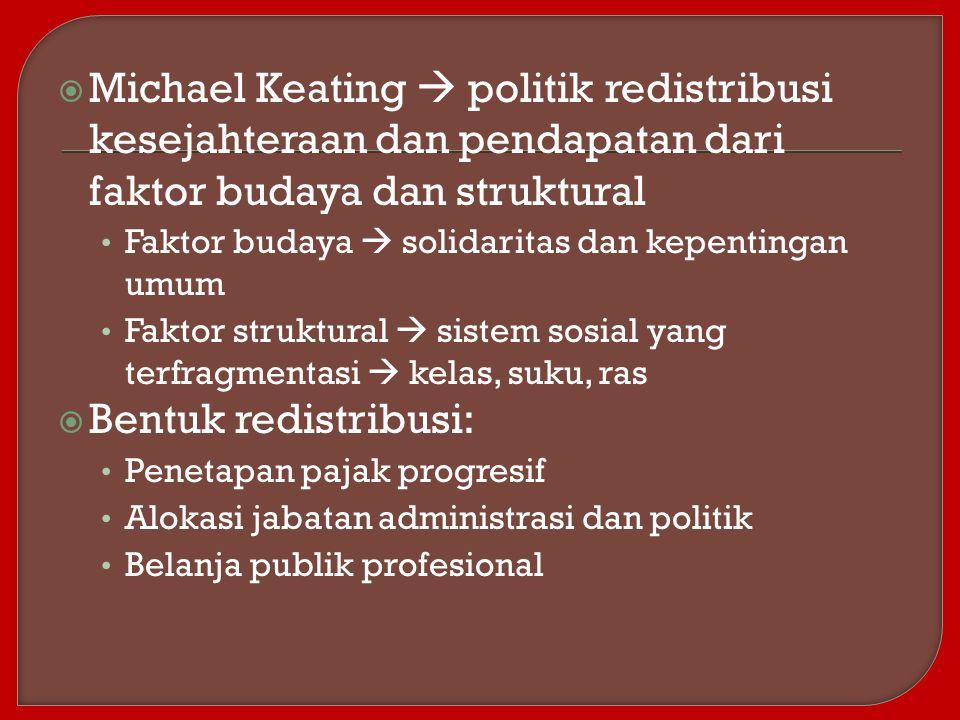  Michael Keating  politik redistribusi kesejahteraan dan pendapatan dari faktor budaya dan struktural Faktor budaya  solidaritas dan kepentingan um