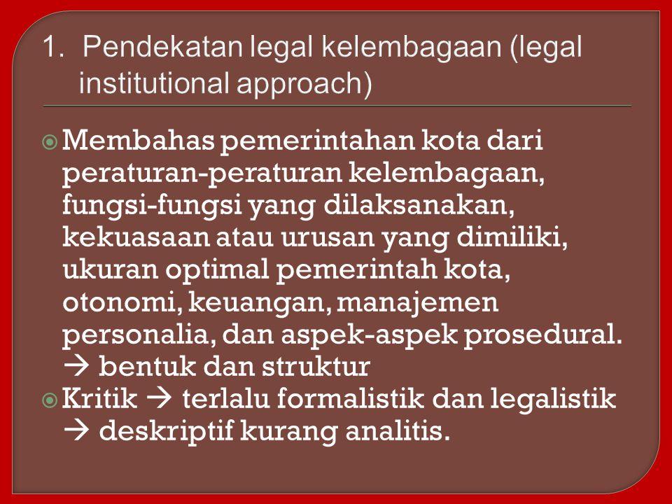  Membahas pemerintahan kota dari peraturan-peraturan kelembagaan, fungsi-fungsi yang dilaksanakan, kekuasaan atau urusan yang dimiliki, ukuran optima