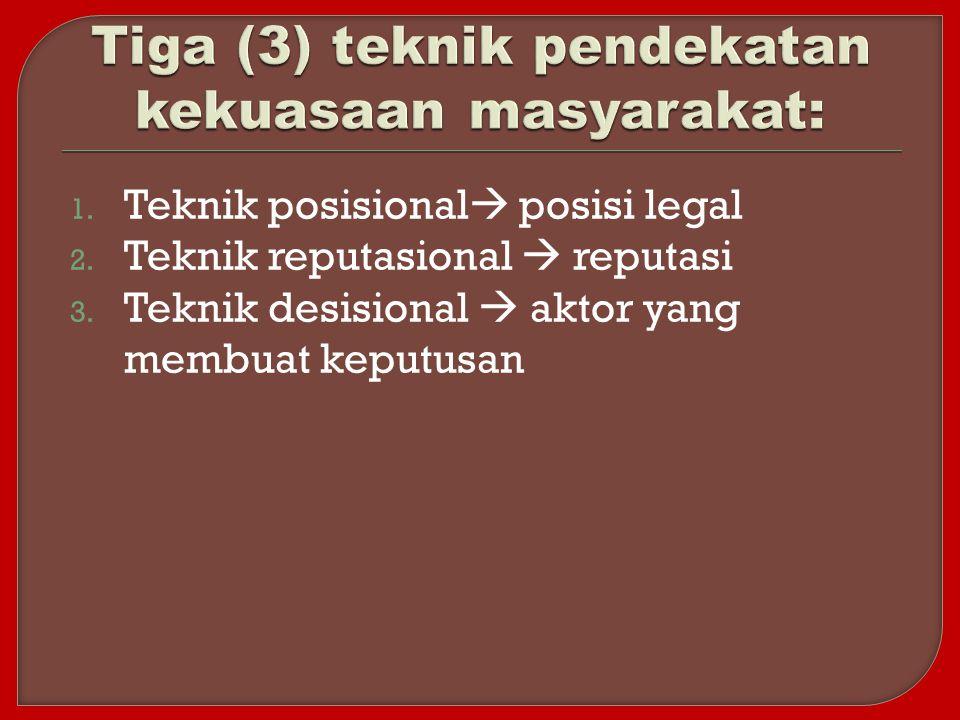 1. Teknik posisional  posisi legal 2. Teknik reputasional  reputasi 3. Teknik desisional  aktor yang membuat keputusan