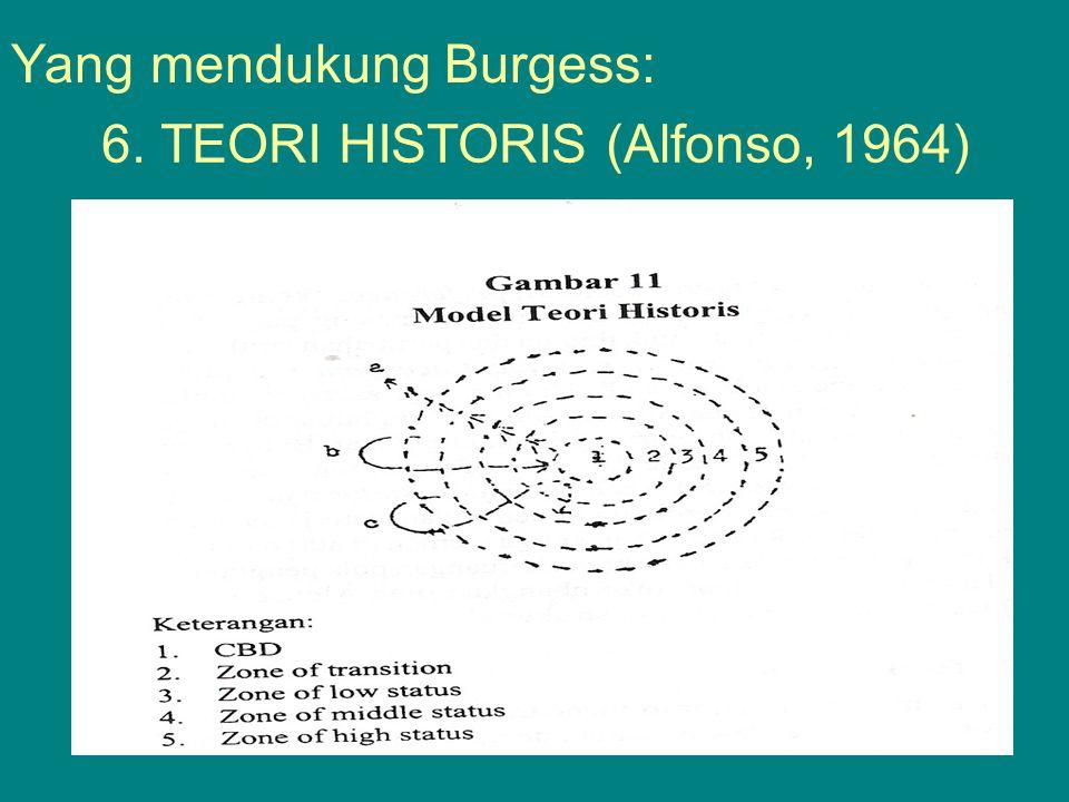6. TEORI HISTORIS (Alfonso, 1964) Yang mendukung Burgess: