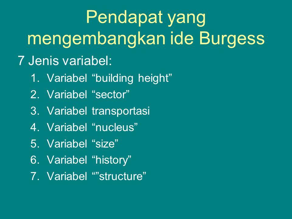 """Pendapat yang mengembangkan ide Burgess 7 Jenis variabel: 1.Variabel """"building height"""" 2.Variabel """"sector"""" 3.Variabel transportasi 4.Variabel """"nucleus"""