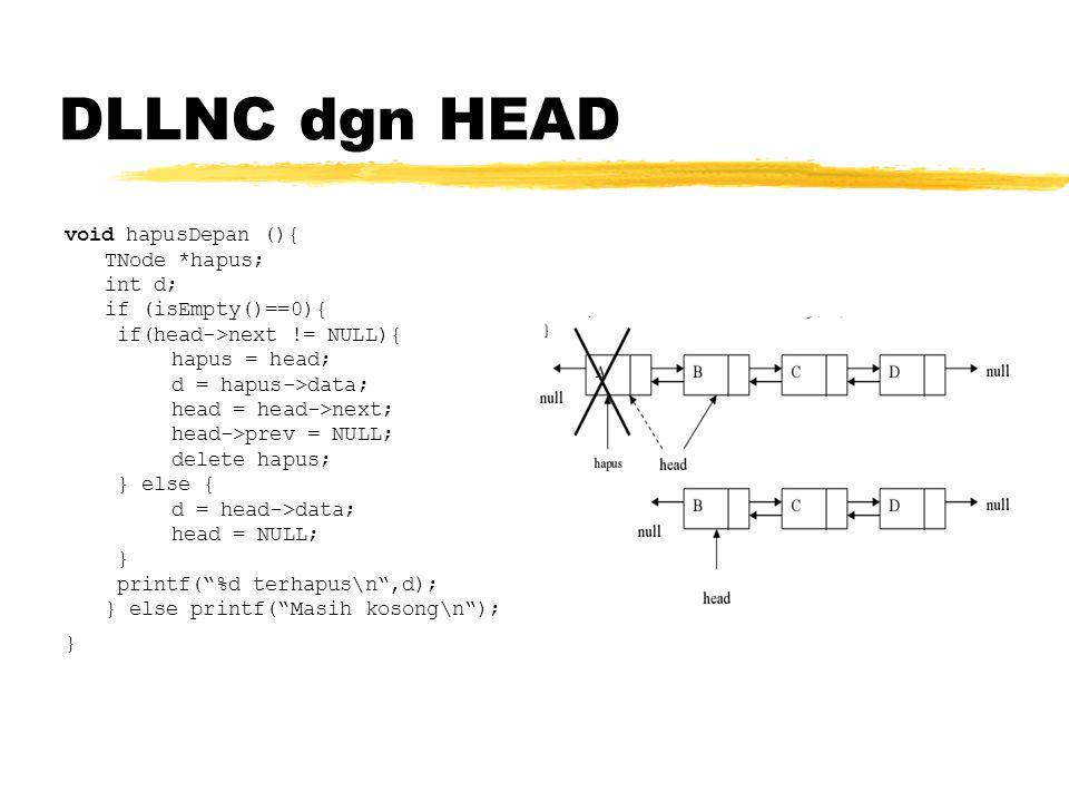 DLLNC dgn HEAD void hapusDepan (){ TNode *hapus; int d; if (isEmpty()==0){ if(head->next != NULL){ hapus = head; d = hapus->data; head = head->next; head->prev = NULL; delete hapus; } else { d = head->data; head = NULL; } printf( %d terhapus\n ,d); } else printf( Masih kosong\n ); }
