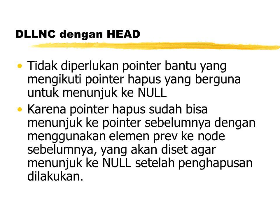DLLNC dengan HEAD Tidak diperlukan pointer bantu yang mengikuti pointer hapus yang berguna untuk menunjuk ke NULL Karena pointer hapus sudah bisa menunjuk ke pointer sebelumnya dengan menggunakan elemen prev ke node sebelumnya, yang akan diset agar menunjuk ke NULL setelah penghapusan dilakukan.