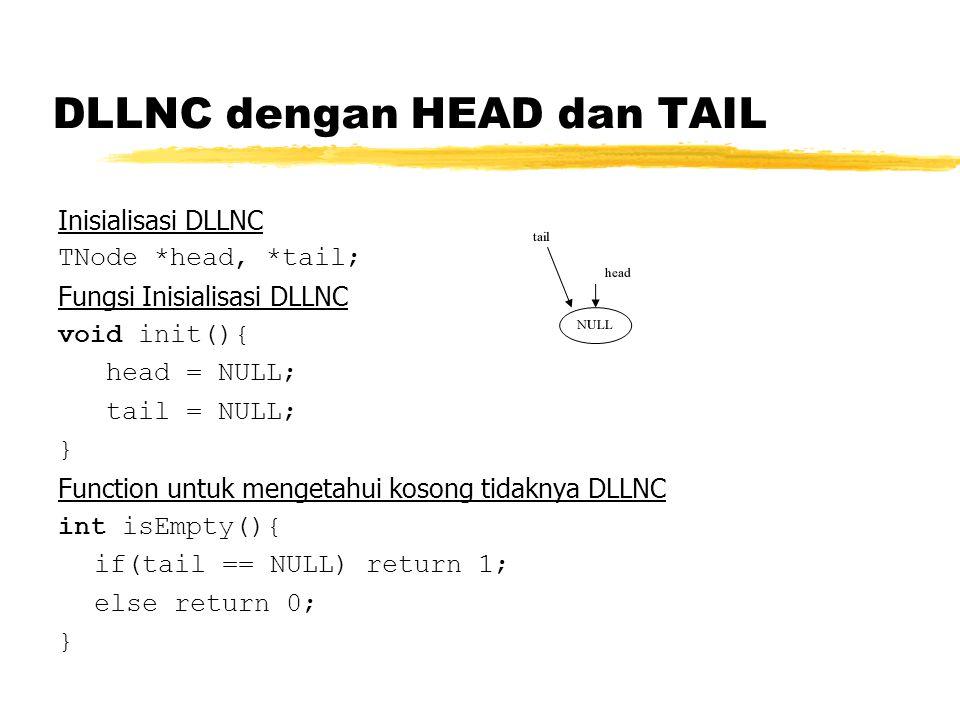 DLLNC dengan HEAD dan TAIL Inisialisasi DLLNC TNode *head, *tail; Fungsi Inisialisasi DLLNC void init(){ head = NULL; tail = NULL; } Function untuk me