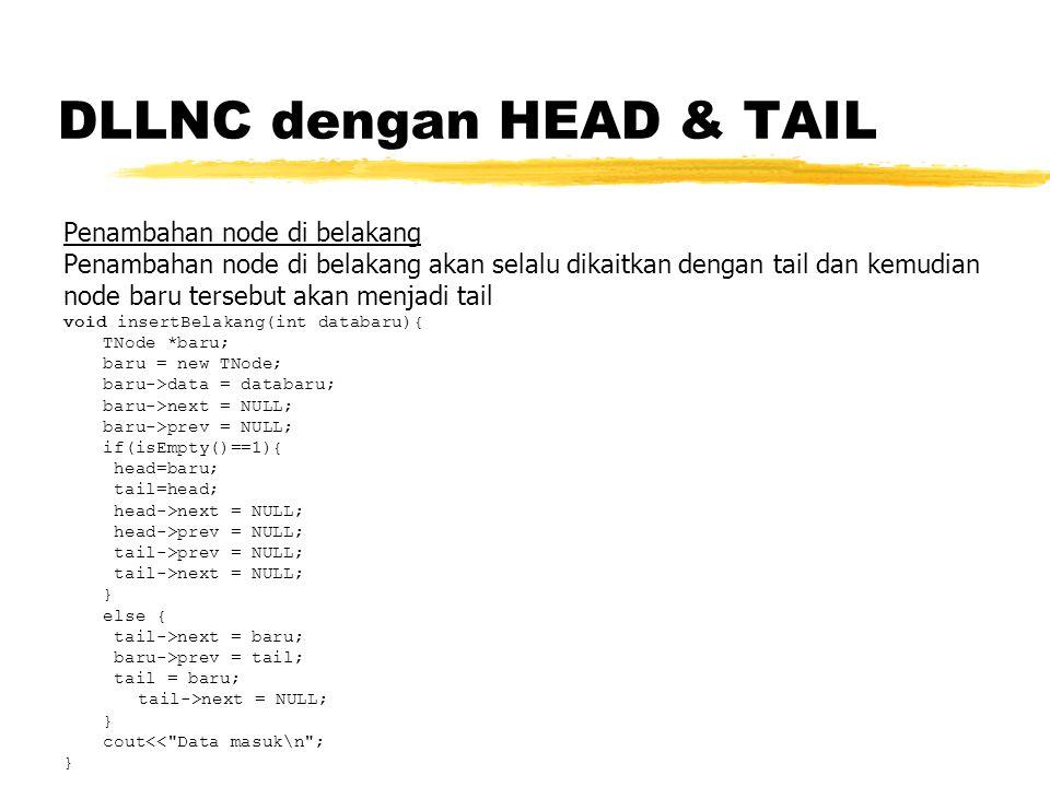 DLLNC dengan HEAD & TAIL Penambahan node di belakang Penambahan node di belakang akan selalu dikaitkan dengan tail dan kemudian node baru tersebut akan menjadi tail void insertBelakang(int databaru){ TNode *baru; baru = new TNode; baru->data = databaru; baru->next = NULL; baru->prev = NULL; if(isEmpty()==1){ head=baru; tail=head; head->next = NULL; head->prev = NULL; tail->prev = NULL; tail->next = NULL; } else { tail->next = baru; baru->prev = tail; tail = baru; tail->next = NULL; } cout<< Data masuk\n ; }