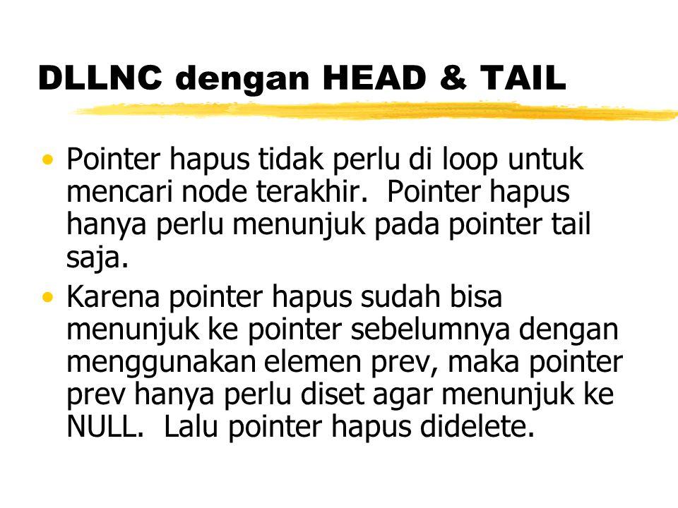 DLLNC dengan HEAD & TAIL Pointer hapus tidak perlu di loop untuk mencari node terakhir. Pointer hapus hanya perlu menunjuk pada pointer tail saja. Kar
