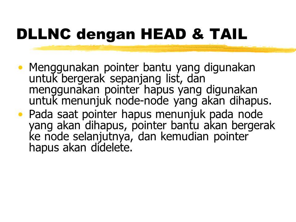 DLLNC dengan HEAD & TAIL Menggunakan pointer bantu yang digunakan untuk bergerak sepanjang list, dan menggunakan pointer hapus yang digunakan untuk menunjuk node-node yang akan dihapus.