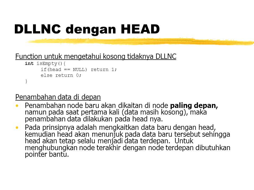 DLLNC dengan HEAD Function untuk mengetahui kosong tidaknya DLLNC int isEmpty(){ if(head == NULL) return 1; else return 0; } Penambahan data di depan Penambahan node baru akan dikaitan di node paling depan, namun pada saat pertama kali (data masih kosong), maka penambahan data dilakukan pada head nya.
