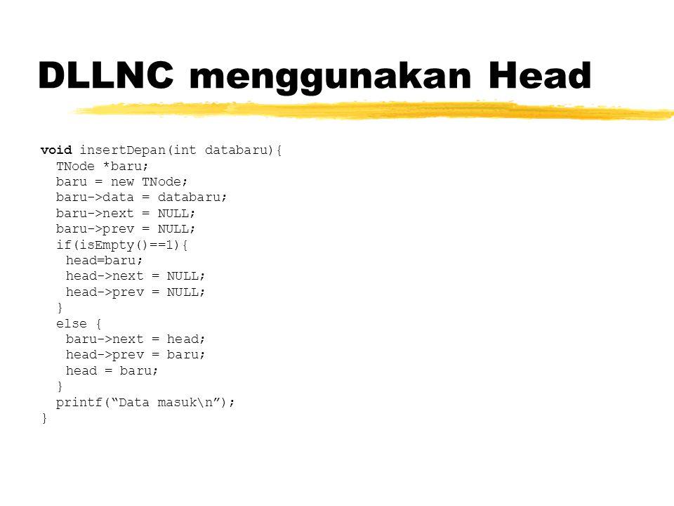 DLLNC menggunakan Head void insertDepan(int databaru){ TNode *baru; baru = new TNode; baru->data = databaru; baru->next = NULL; baru->prev = NULL; if(