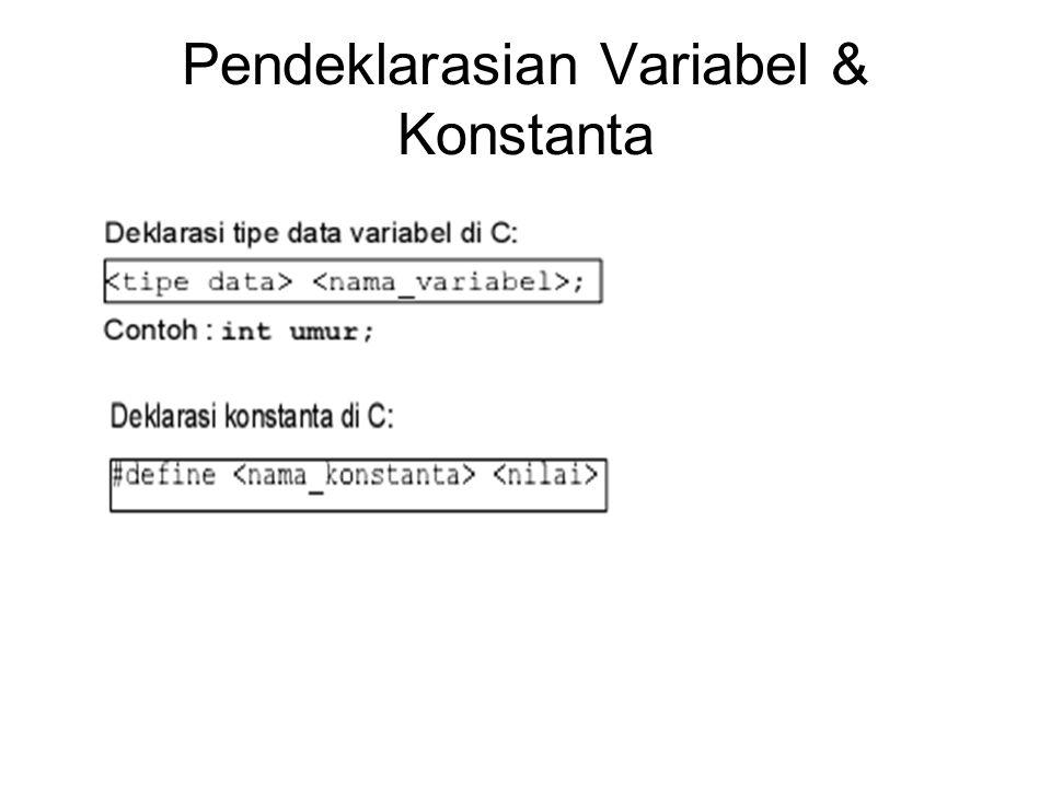 Pendeklarasian Variabel & Konstanta