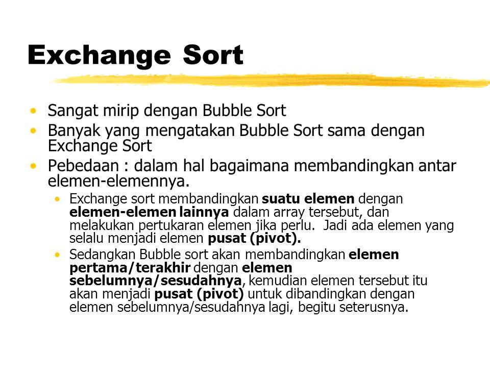 Exchange Sort Sangat mirip dengan Bubble Sort Banyak yang mengatakan Bubble Sort sama dengan Exchange Sort Pebedaan : dalam hal bagaimana membandingkan antar elemen-elemennya.