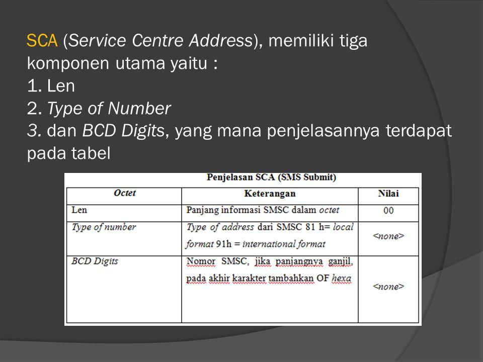 SCA (Service Centre Address), memiliki tiga komponen utama yaitu : 1. Len 2. Type of Number 3. dan BCD Digits, yang mana penjelasannya terdapat pada t