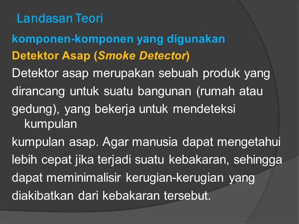 Landasan Teori komponen-komponen yang digunakan Detektor Asap (Smoke Detector) Detektor asap merupakan sebuah produk yang dirancang untuk suatu bangun