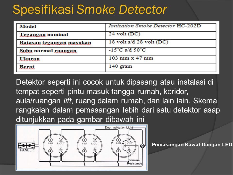 Spesifikasi Smoke Detector Detektor seperti ini cocok untuk dipasang atau instalasi di tempat seperti pintu masuk tangga rumah, koridor, aula/ruangan