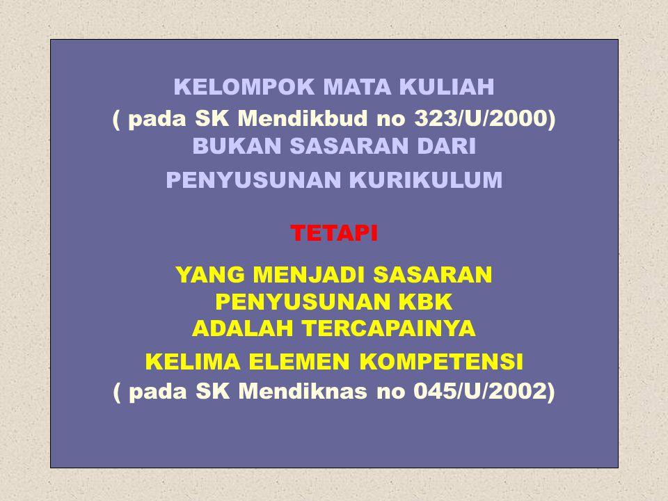 KELOMPOK MATA KULIAH ( pada SK Mendikbud no 323/U/2000) BUKAN SASARAN DARI PENYUSUNAN KURIKULUM TETAPI YANG MENJADI SASARAN PENYUSUNAN KBK ADALAH TERCAPAINYA KELIMA ELEMEN KOMPETENSI ( pada SK Mendiknas no 045/U/2002)