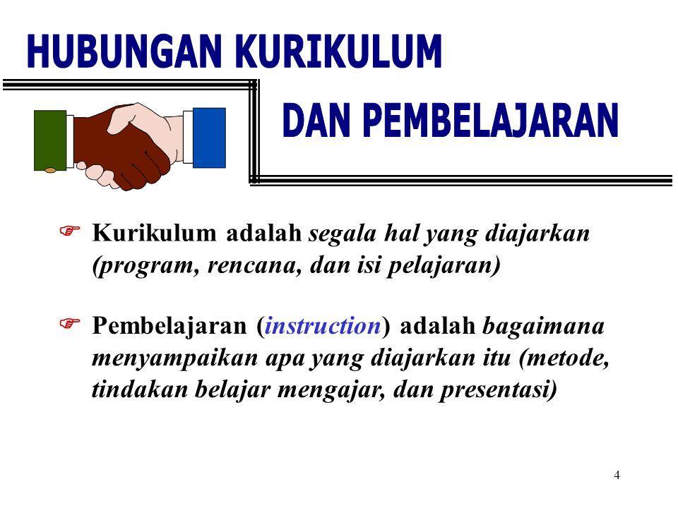 4  Kurikulum adalah segala hal yang diajarkan (program, rencana, dan isi pelajaran)  Pembelajaran (instruction) adalah bagaimana menyampaikan apa ya