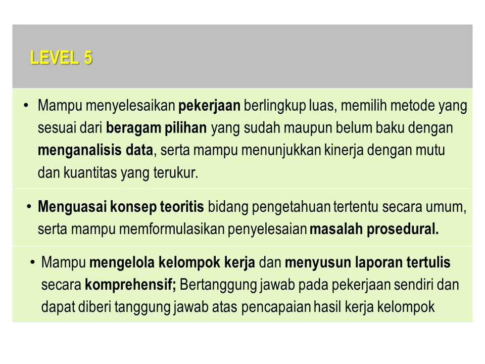LEVEL 5 Mampu menyelesaikan pekerjaan berlingkup luas, memilih metode yang sesuai dari beragam pilihan yang sudah maupun belum baku dengan menganalisi