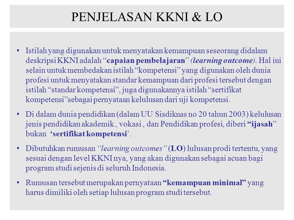 PENJELASAN KKNI & LO Istilah yang digunakan untuk menyatakan kemampuan seseorang didalam deskripsi KKNI adalah capaian pembelajaran (learning outcome).