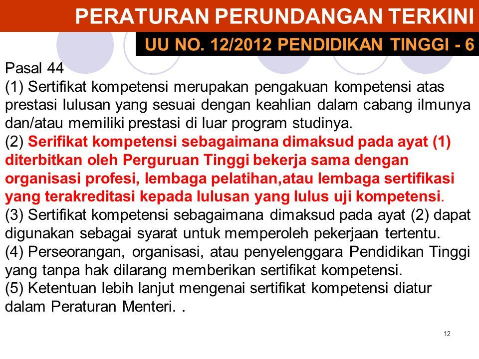 12 PERATURAN PERUNDANGAN TERKINI Pasal 44 (1) Sertifikat kompetensi merupakan pengakuan kompetensi atas prestasi lulusan yang sesuai dengan keahlian d