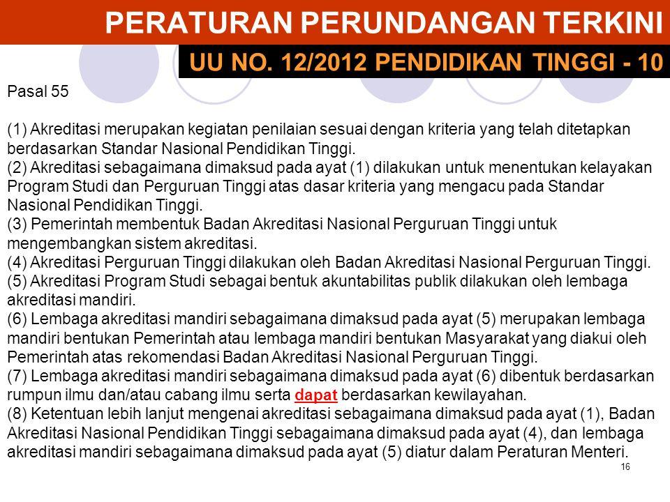 16 PERATURAN PERUNDANGAN TERKINI Pasal 55 (1) Akreditasi merupakan kegiatan penilaian sesuai dengan kriteria yang telah ditetapkan berdasarkan Standar Nasional Pendidikan Tinggi.