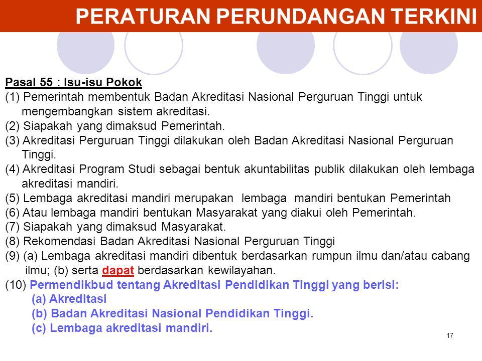 17 PERATURAN PERUNDANGAN TERKINI Pasal 55 : Isu-isu Pokok (1) Pemerintah membentuk Badan Akreditasi Nasional Perguruan Tinggi untuk mengembangkan sist