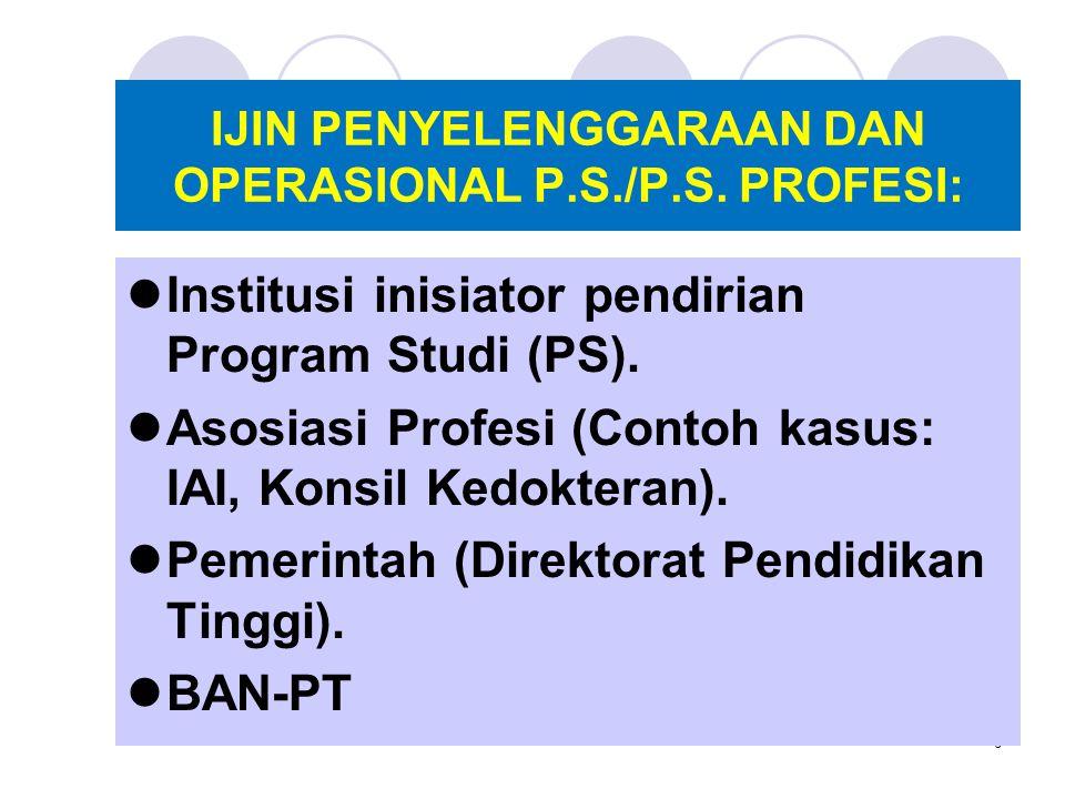6 IJIN PENYELENGGARAAN DAN OPERASIONAL P.S./P.S. PROFESI: Institusi inisiator pendirian Program Studi (PS). Asosiasi Profesi (Contoh kasus: IAI, Konsi