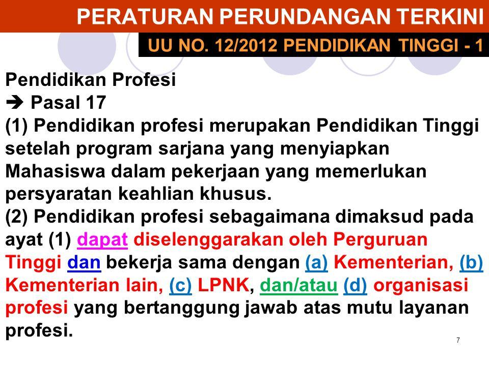7 PERATURAN PERUNDANGAN TERKINI Pendidikan Profesi  Pasal 17 (1) Pendidikan profesi merupakan Pendidikan Tinggi setelah program sarjana yang menyiapk