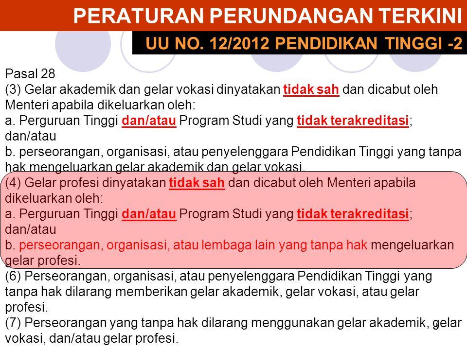 8 PERATURAN PERUNDANGAN TERKINI Pasal 28 (3) Gelar akademik dan gelar vokasi dinyatakan tidak sah dan dicabut oleh Menteri apabila dikeluarkan oleh: a
