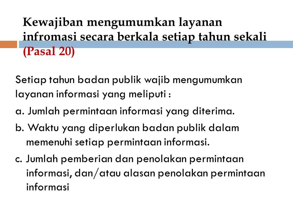 Kewajiban mengumumkan layanan infromasi secara berkala setiap tahun sekali (Pasal 20) Setiap tahun badan publik wajib mengumumkan layanan informasi ya