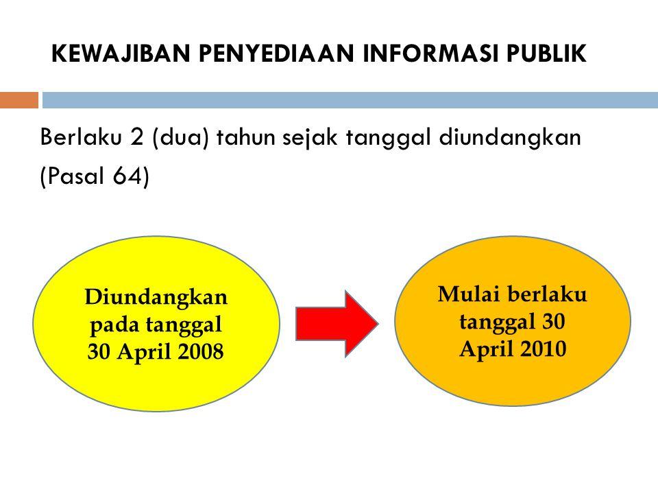 KEWAJIBAN PENYEDIAAN INFORMASI PUBLIK Berlaku 2 (dua) tahun sejak tanggal diundangkan (Pasal 64) Diundangkan pada tanggal 30 April 2008 Mulai berlaku