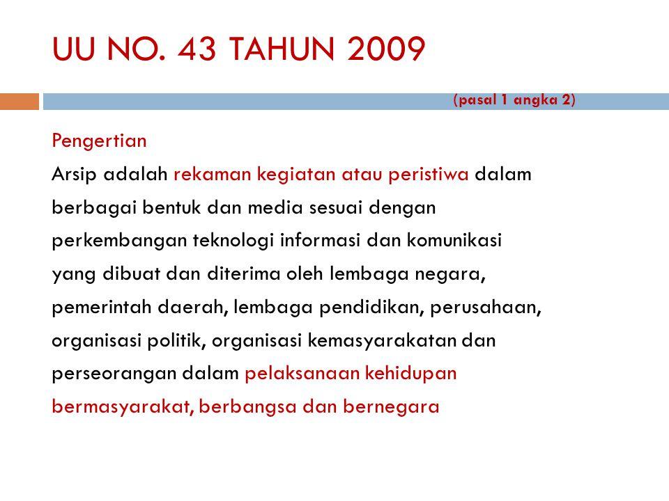 UU NO. 43 TAHUN 2009 (pasal 1 angka 2) Pengertian Arsip adalah rekaman kegiatan atau peristiwa dalam berbagai bentuk dan media sesuai dengan perkemban