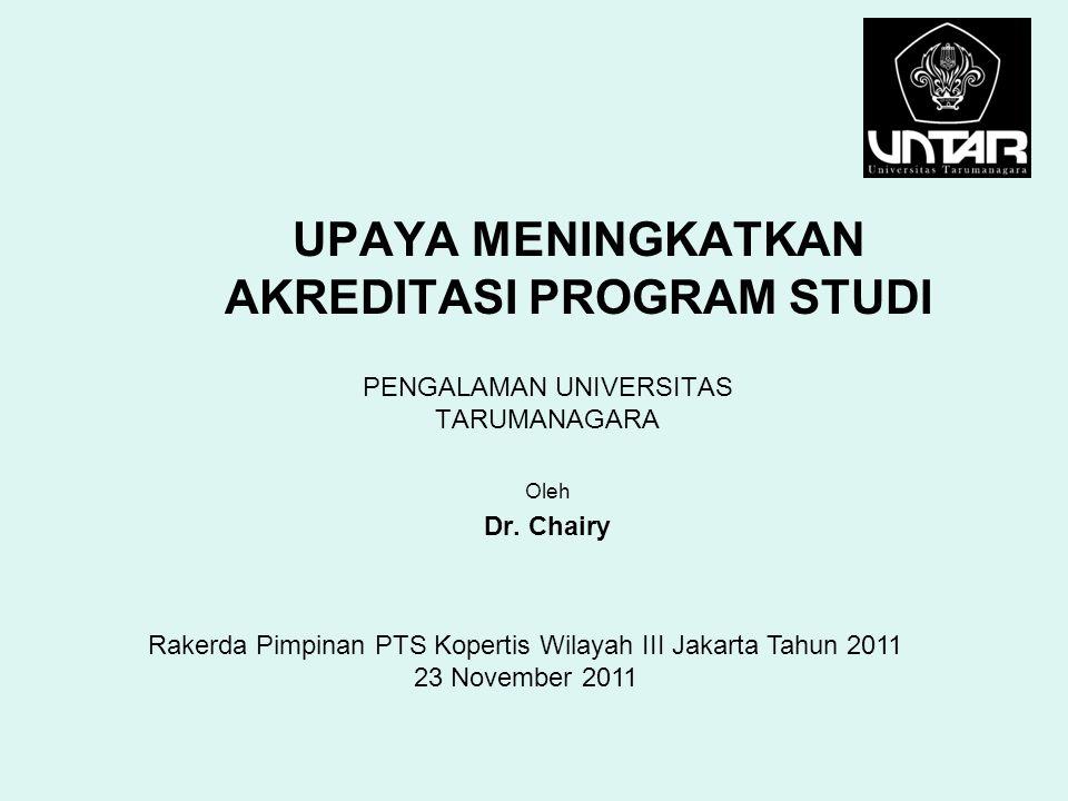 UPAYA MENINGKATKAN AKREDITASI PROGRAM STUDI PENGALAMAN UNIVERSITAS TARUMANAGARA Oleh Dr. Chairy Rakerda Pimpinan PTS Kopertis Wilayah III Jakarta Tahu