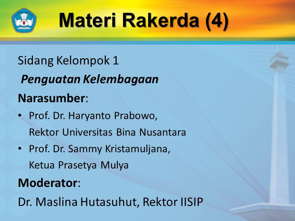 Sidang Kelompok 1 Penguatan Kelembagaan Narasumber: Prof.