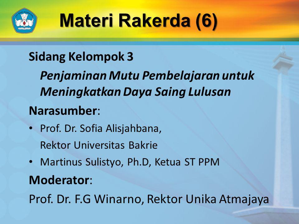 Sidang Kelompok 3 Penjaminan Mutu Pembelajaran untuk Meningkatkan Daya Saing Lulusan Narasumber: Prof.