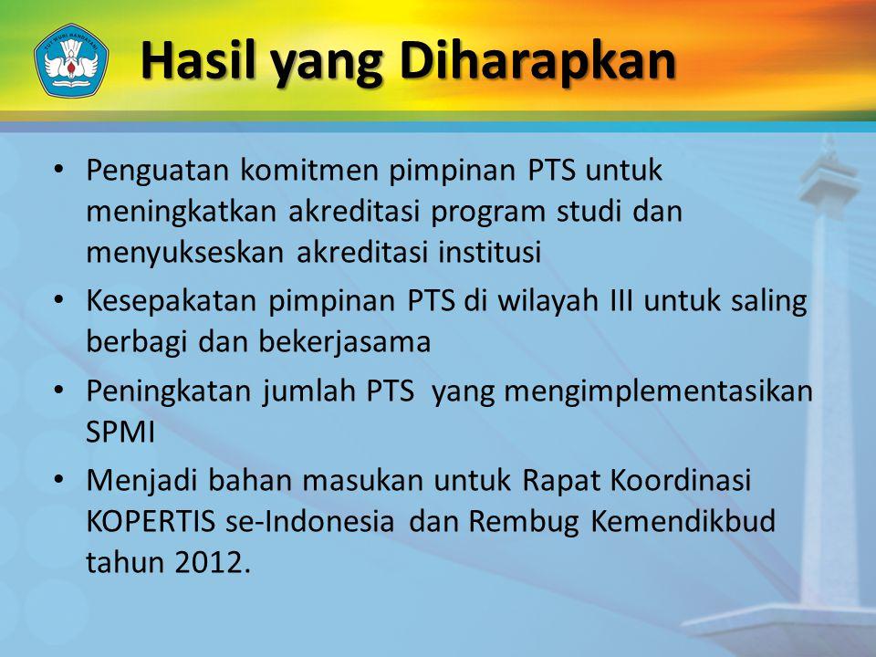 Penguatan komitmen pimpinan PTS untuk meningkatkan akreditasi program studi dan menyukseskan akreditasi institusi Kesepakatan pimpinan PTS di wilayah III untuk saling berbagi dan bekerjasama Peningkatan jumlah PTS yang mengimplementasikan SPMI Menjadi bahan masukan untuk Rapat Koordinasi KOPERTIS se-Indonesia dan Rembug Kemendikbud tahun 2012.