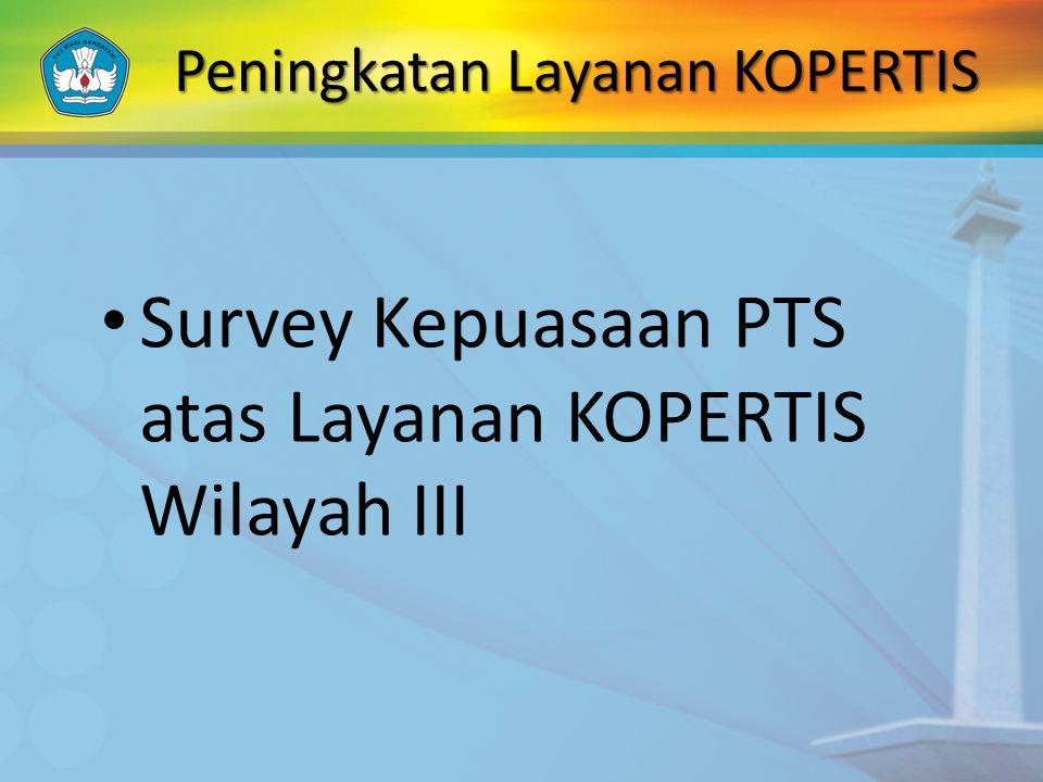 Peningkatan Layanan KOPERTIS Survey Kepuasaan PTS atas Layanan KOPERTIS Wilayah III