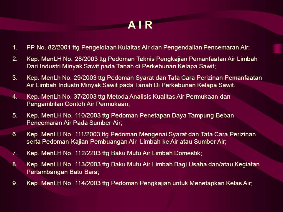 A I R 1.PP No.82/2001 ttg Pengelolaan Kulaitas Air dan Pengendalian Pencemaran Air; 2.Kep.